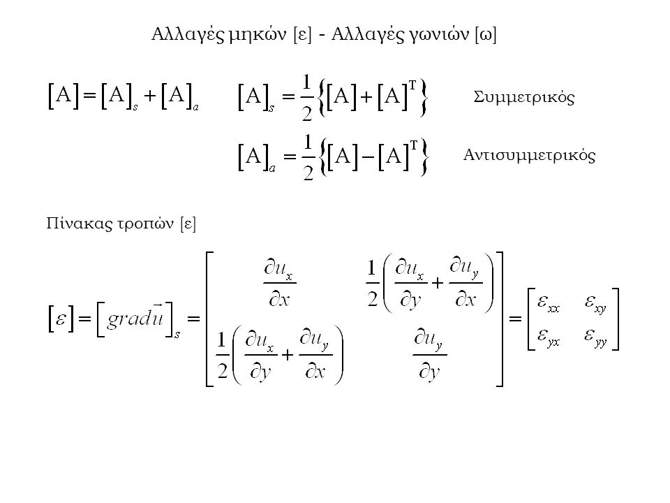 Αν χρησιμοποιήσουμε την προηγούμενη σχέση και την εξίσωση του Hooke τότε μπορούμε να υπολογίσουμε τη συνθήκη συμβιβαστού για τις τάσεις καθώς και για την τασική συνάρτηση Φ.