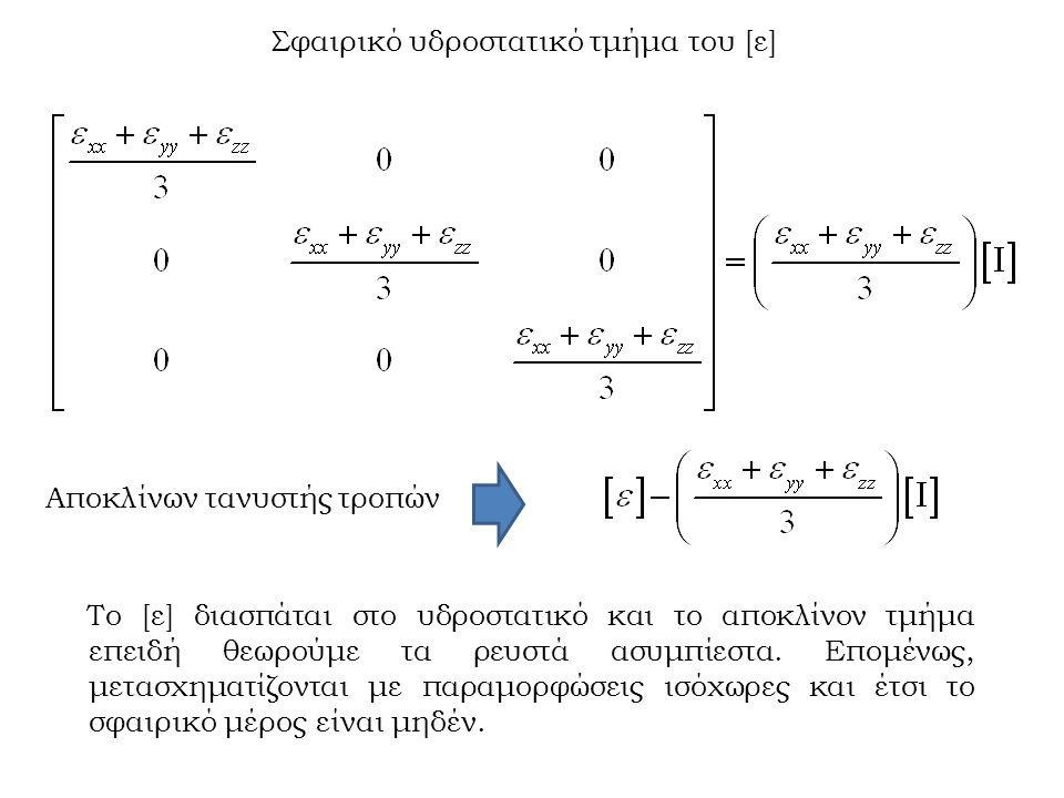 Σφαιρικό υδροστατικό τμήμα του [ε] Αποκλίνων τανυστής τροπών Το [ε] διασπάται στο υδροστατικό και το αποκλίνον τμήμα επειδή θεωρούμε τα ρευστά ασυμπίε