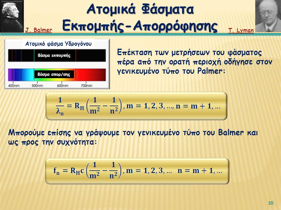 10 Επέκταση των μετρήσεων του φάσματος πέρα από την ορατή περιοχή οδήγησε στον γενικευμένο τύπο του Palmer: Ατομικό φάσμα Υδρογόνου Φάσμα εκπομπής Φάσμα απορ/σης Μπορούμε επίσης να γράψουμε τον γενικευμένο τύπο του Balmer και ως προς την συχνότητα: Ατομικά Φάσματα Εκπομπής-Απορρόφησης J.