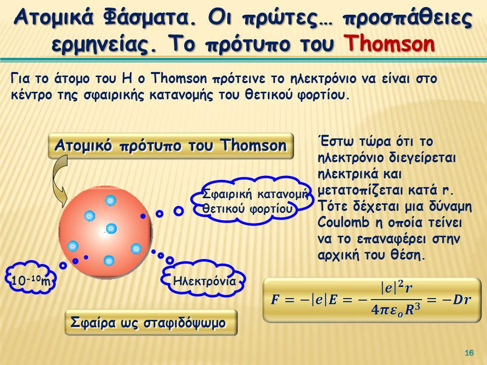 16 Για το άτομο του Η ο Thomson πρότεινε το ηλεκτρόνιο να είναι στο κέντρο της σφαιρικής κατανομής του θετικού φορτίου.