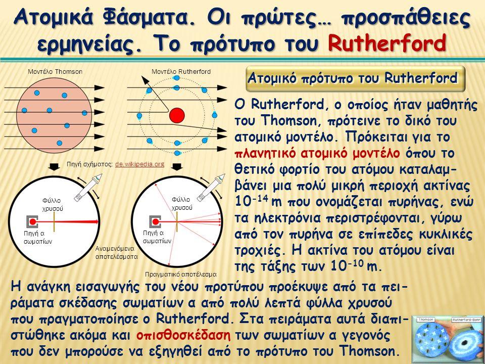 Ατομικό πρότυπο του Rutherford Ο Rutherford, ο οποίος ήταν μαθητής του Thomson, πρότεινε το δικό του ατομικό μοντέλο.