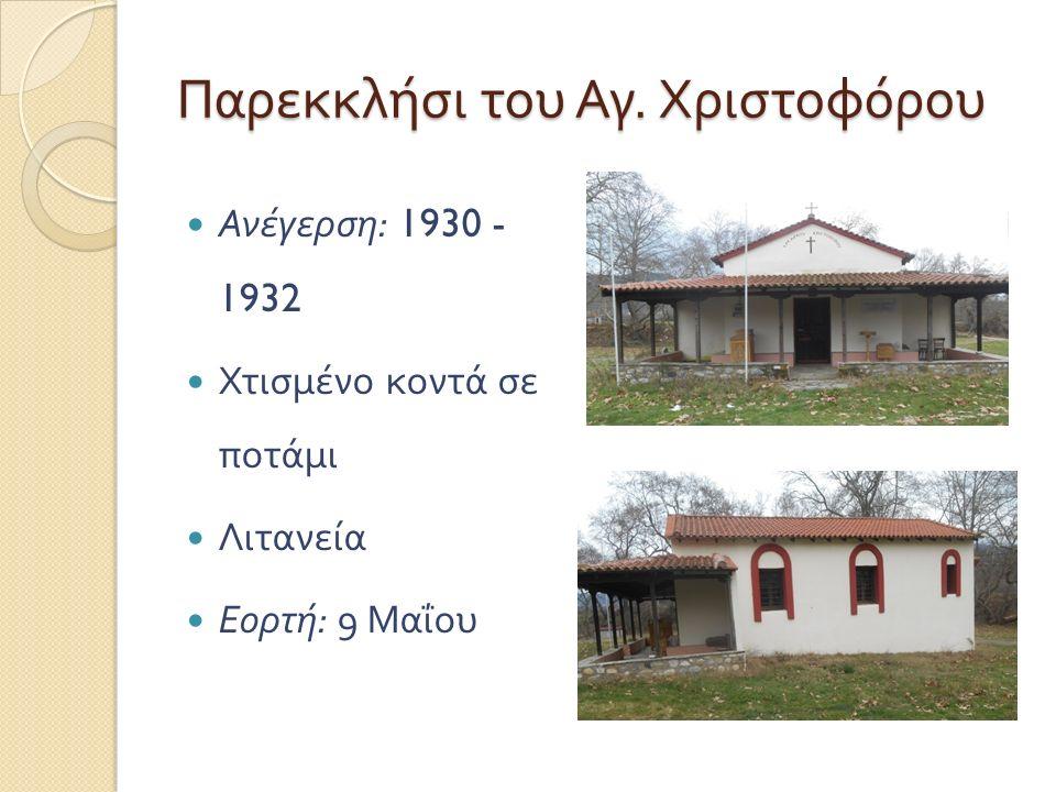 Παρεκκλήσι του Αγ. Χριστοφόρου Ανέγερση : 1930 - 1932 Χτισμένο κοντά σε ποτάμι Λιτανεία Εορτή : 9 Μαΐου