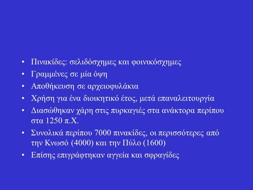 Πινακίδες: σελιδόσχημες και φοινικόσχημες Γραμμένες σε μία όψη Αποθήκευση σε αρχειοφυλάκια Χρήση για ένα διοικητικό έτος, μετά επαναλειτουργία Διασώθηκαν χάρη στις πυρκαγιές στα ανάκτορα περίπου στα 1250 π.Χ.