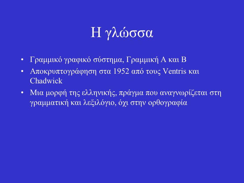 Η γλώσσα Γραμμικό γραφικό σύστημα, Γραμμική Α και Β Αποκρυπτογράφηση στα 1952 από τους Ventris και Chadwick Μια μορφή της ελληνικής, πράγμα που αναγνωρίζεται στη γραμματική και λεξιλόγιο, όχι στην ορθογραφία