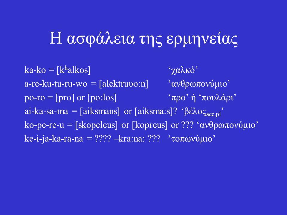 Η ασφάλεια της ερμηνείας ka-ko = [k h alkos]'χαλκό' a-re-ku-tu-ru-wo = [alektruυo:n]'ανθρωπονύμιο' po-ro = [pro] or [po:los]'προ' ή 'πουλάρι' ai-ka-sa-ma = [aiksmans] or [aiksma:s].