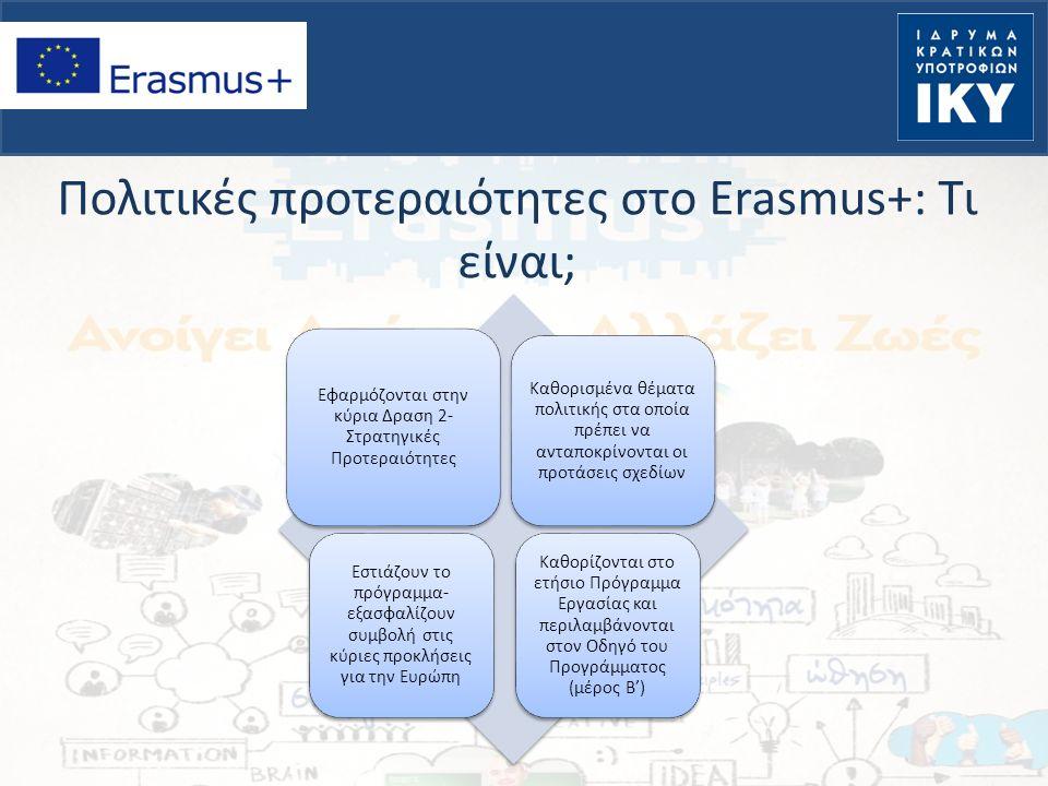 Πολιτικές προτεραιότητες στο Erasmus+: Τι είναι; Εφαρμόζονται στην κύρια Δραση 2- Στρατηγικές Προτεραιότητες Καθορισμένα θέματα πολιτικής στα οποία πρέπει να ανταποκρίνονται οι προτάσεις σχεδίων Εστιάζουν το πρόγραμμα- εξασφαλίζουν συμβολή στις κύριες προκλήσεις για την Ευρώπη Καθορίζονται στο ετήσιο Πρόγραμμα Εργασίας και περιλαμβάνονται στον Οδηγό του Προγράμματος (μέρος Β')