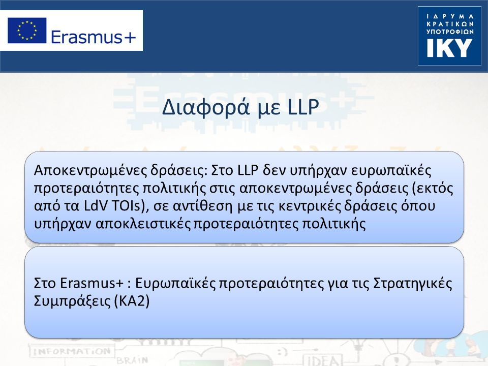 Διαφορά με LLP Αποκεντρωμένες δράσεις: Στο LLP δεν υπήρχαν ευρωπαϊκές προτεραιότητες πολιτικής στις αποκεντρωμένες δράσεις (εκτός από τα LdV TOIs), σε αντίθεση με τις κεντρικές δράσεις όπου υπήρχαν αποκλειστικές προτεραιότητες πολιτικής Στο Erasmus+ : Ευρωπαϊκές προτεραιότητες για τις Στρατηγικές Συμπράξεις (ΚΑ2)