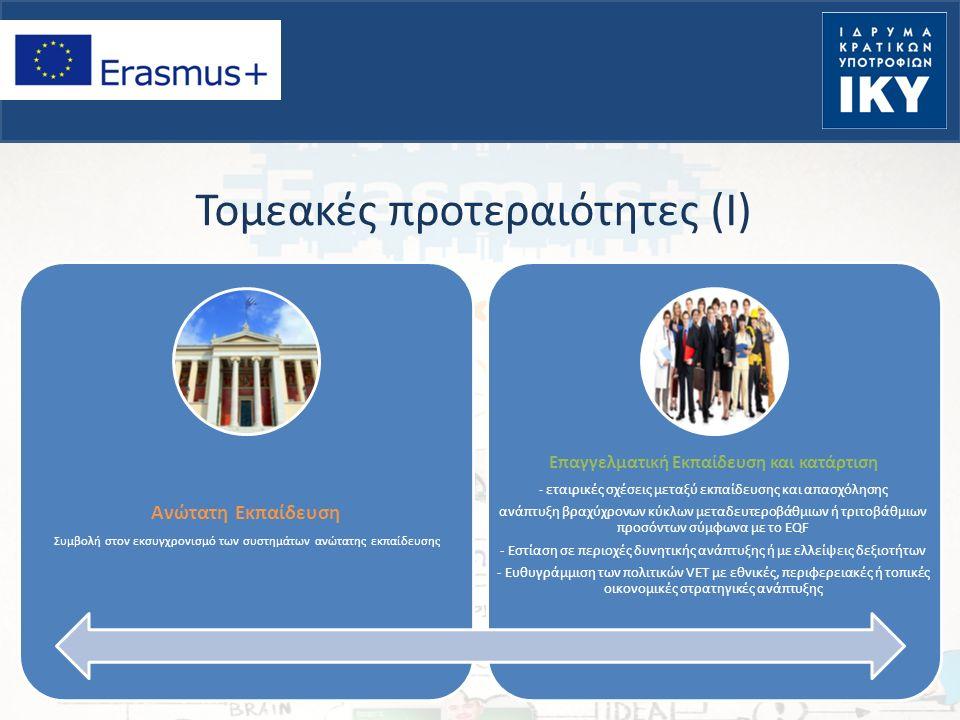 Τομεακές προτεραιότητες (Ι) Ανώτατη Εκπαίδευση Συμβολή στον εκσυγχρονισμό των συστημάτων ανώτατης εκπαίδευσης Επαγγελματική Εκπαίδευση και κατάρτιση - εταιρικές σχέσεις μεταξύ εκπαίδευσης και απασχόλησης ανάπτυξη βραχύχρονων κύκλων μεταδευτεροβάθμιων ή τριτοβάθμιων προσόντων σύμφωνα με το EQF - Εστίαση σε περιοχές δυνητικής ανάπτυξης ή με ελλείψεις δεξιοτήτων - Ευθυγράμμιση των πολιτικών VET με εθνικές, περιφερειακές ή τοπικές οικονομικές στρατηγικές ανάπτυξης