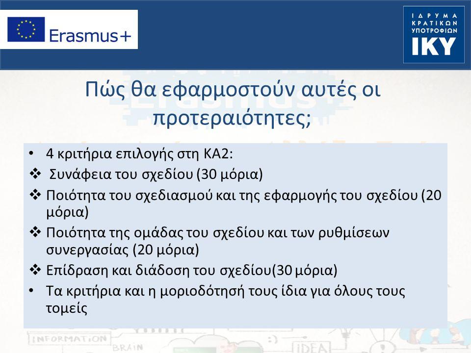 Πώς θα εφαρμοστούν αυτές οι προτεραιότητες; 4 κριτήρια επιλογής στη ΚΑ2:  Συνάφεια του σχεδίου (30 μόρια)  Ποιότητα του σχεδιασμού και της εφαρμογής