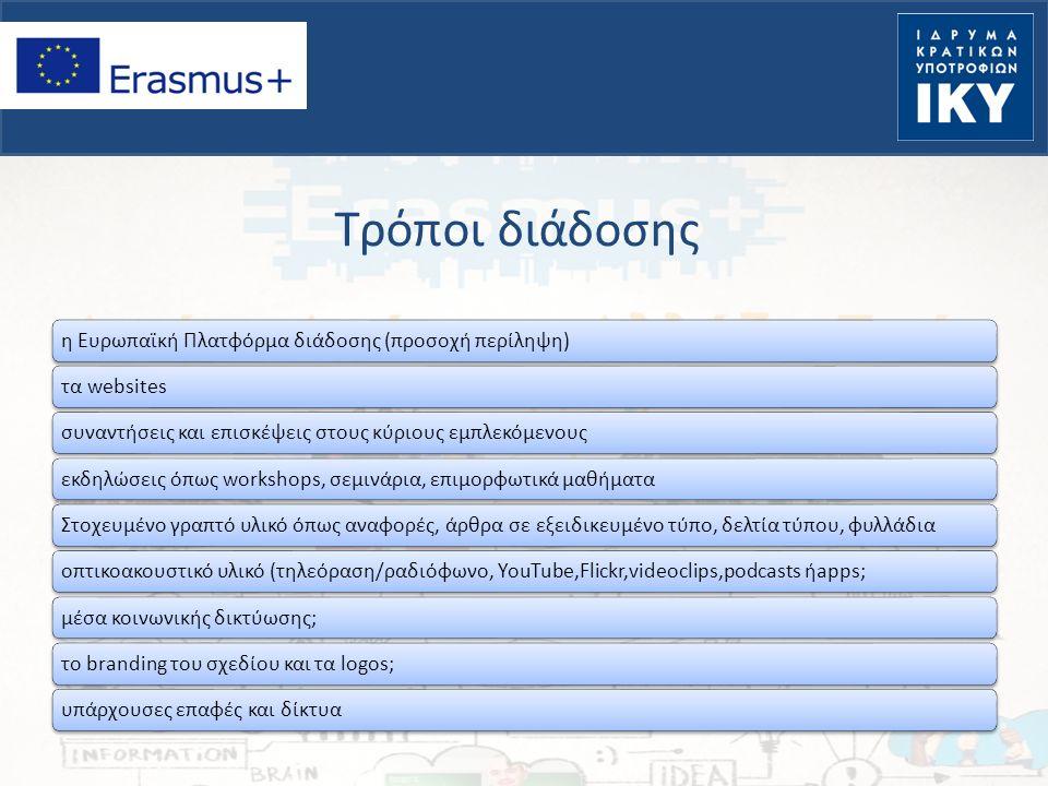 Τρόποι διάδοσης η Ευρωπαϊκή Πλατφόρμα διάδοσης (προσοχή περίληψη)τα websitesσυναντήσεις και επισκέψεις στους κύριους εμπλεκόμενουςεκδηλώσεις όπως work