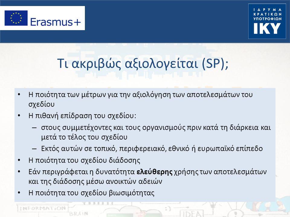 Τι ακριβώς αξιολογείται (SP); Η ποιότητα των μέτρων για την αξιολόγηση των αποτελεσμάτων του σχεδίου Η πιθανή επίδραση του σχεδίου: – στους συμμετέχον