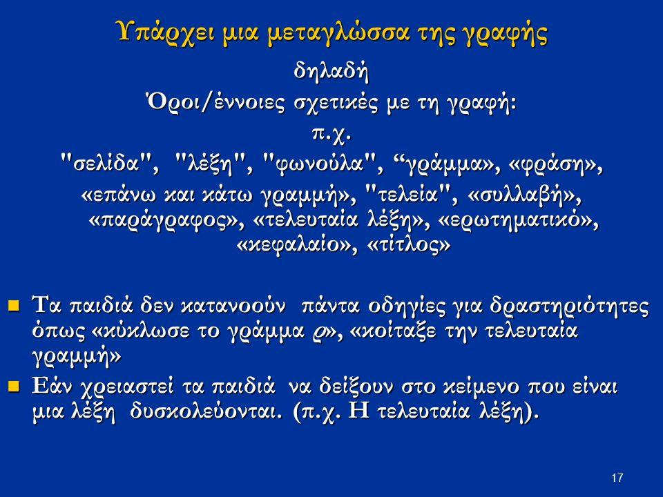 17 Υπάρχει μια μεταγλώσσα της γραφής δηλαδή Όροι/έννοιες σχετικές με τη γραφή: π.χ.