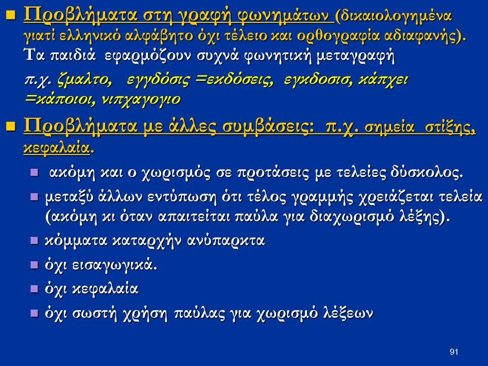 91 Προβλήματα στη γραφή φωνη μάτων (δικαιολογημένα γιατί ελληνικό αλφάβητο όχι τέλειο και ορθογραφία αδιαφανής).