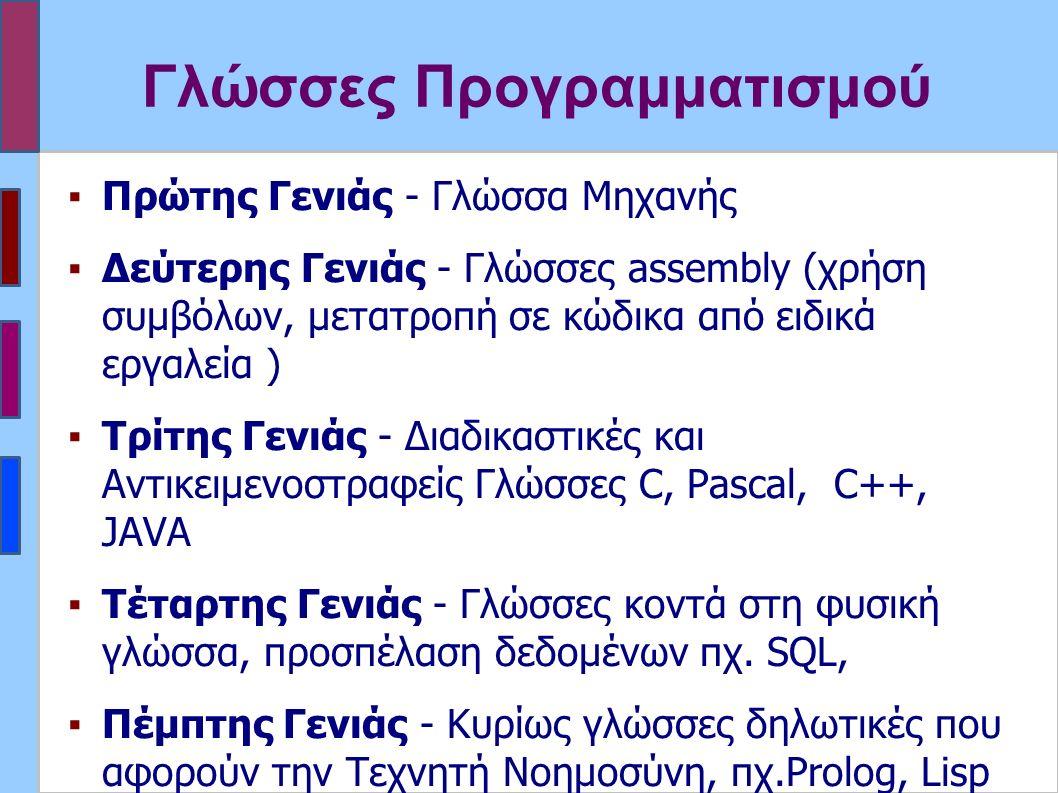 Γλώσσες Προγραμματισμού ▪Πρώτης Γενιάς - Γλώσσα Μηχανής ▪Δεύτερης Γενιάς - Γλώσσες assembly (χρήση συμβόλων, μετατροπή σε κώδικα από ειδικά εργαλεία ) ▪Τρίτης Γενιάς - Διαδικαστικές και Αντικειμενοστραφείς Γλώσσες C, Pascal, C++, JAVA ▪Τέταρτης Γενιάς - Γλώσσες κοντά στη φυσική γλώσσα, προσπέλαση δεδομένων πχ.