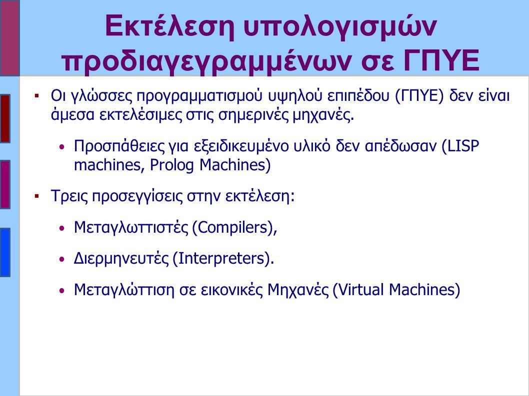 Εκτέλεση υπολογισμών προδιαγεγραμμένων σε ΓΠΥΕ ▪Οι γλώσσες προγραμματισμού υψηλού επιπέδου (ΓΠΥΕ) δεν είναι άμεσα εκτελέσιμες στις σημερινές μηχανές.