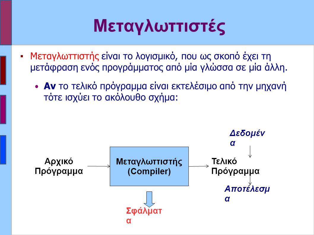 Μεταγλωττιστές ▪Μεταγλωττιστής είναι το λογισμικό, που ως σκοπό έχει τη μετάφραση ενός προγράμματος από μία γλώσσα σε μία άλλη.
