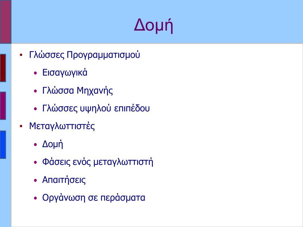 Γλώσσες Προγραμματισμού