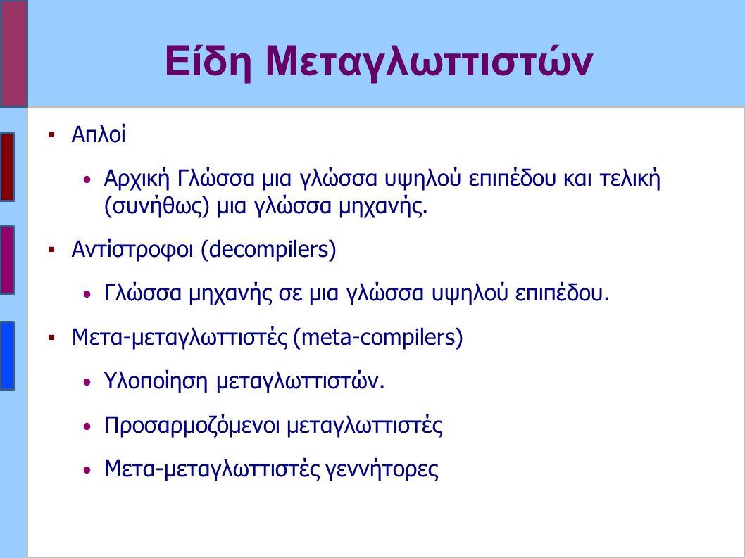 Είδη Μεταγλωττιστών ▪Απλοί Αρχική Γλώσσα μια γλώσσα υψηλού επιπέδου και τελική (συνήθως) μια γλώσσα μηχανής.