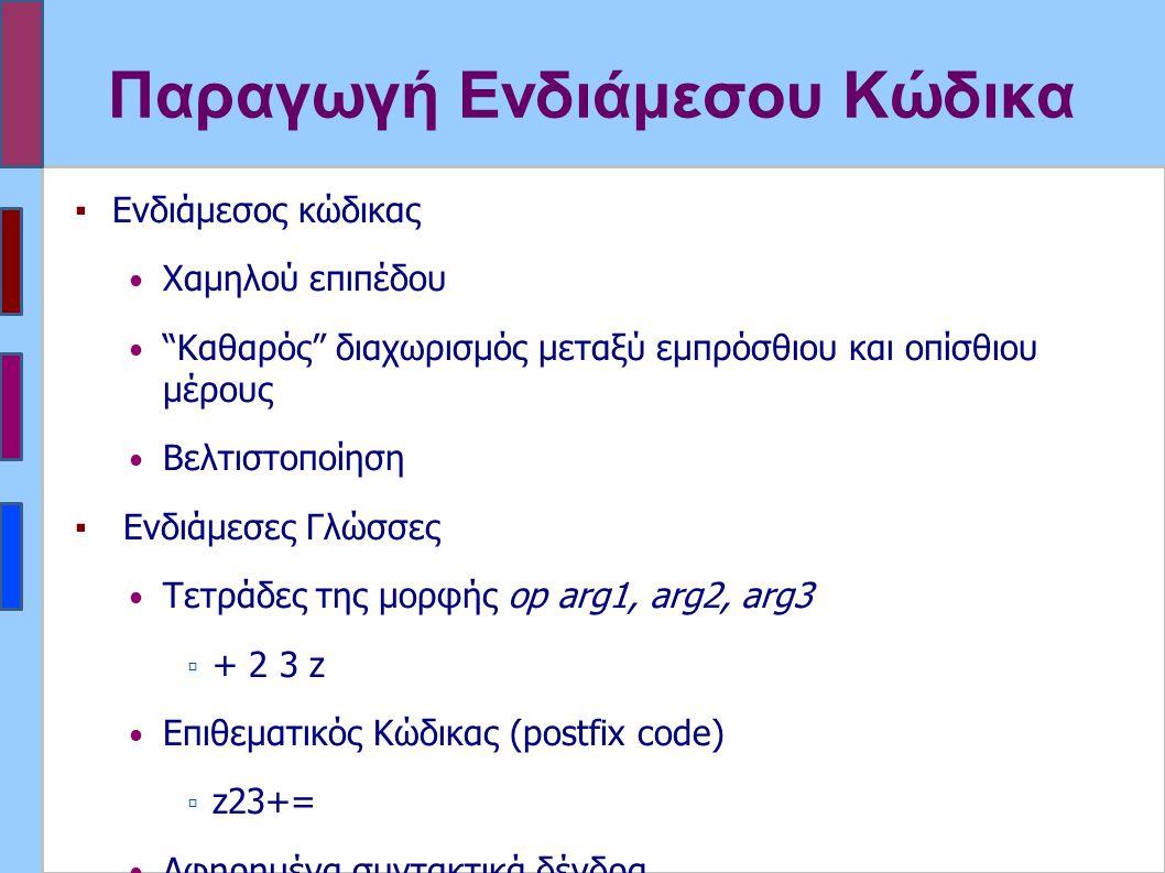 Παραγωγή Ενδιάμεσου Κώδικα ▪Ενδιάμεσος κώδικας Χαμηλού επιπέδου Καθαρός διαχωρισμός μεταξύ εμπρόσθιου και οπίσθιου μέρους Βελτιστοποίηση ▪ Ενδιάμεσες Γλώσσες Τετράδες της μορφής op arg1, arg2, arg3 ▫ + 2 3 z Επιθεματικός Κώδικας (postfix code) ▫ z23+= Αφηρημένα συντακτικά δένδρα