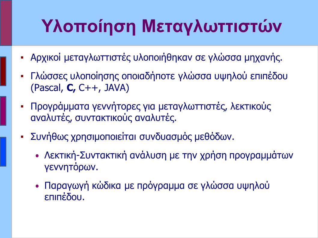 Υλοποίηση Μεταγλωττιστών ▪Αρχικοί μεταγλωττιστές υλοποιήθηκαν σε γλώσσα μηχανής.