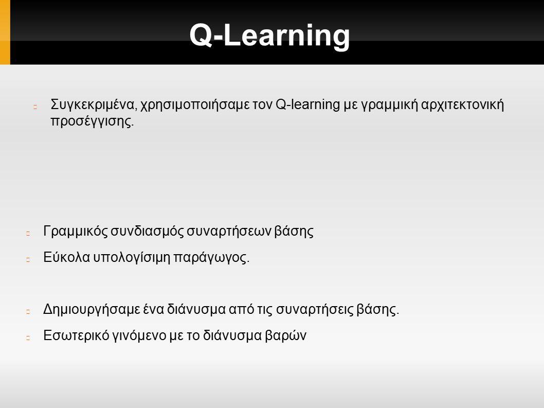 Q-Learning Συγκεκριμένα, χρησιμοποιήσαμε τον Q-learning με γραμμική αρχιτεκτονική προσέγγισης.