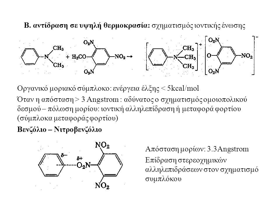 Β. αντίδραση σε υψηλή θερμοκρασία: σχηματισμός ιοντικής ένωσης Οργανικό μοριακό σύμπλοκο: ενέργεια έλξης < 5kcal/mol Όταν η απόσταση > 3 Angstrom : αδ