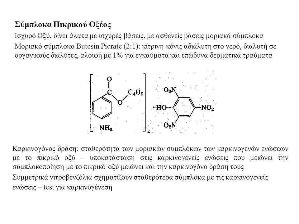 Σύμπλοκα Πικρικού Οξέος Ισχυρό Οξύ, δίνει άλατα με ισχυρές βάσεις, με ασθενείς βάσεις μοριακά σύμπλοκα Μοριακό σύμπλοκο Butesin Picrate (2:1): κίτρινη κόνις αδιάλυτη στο νερό, διαλυτή σε οργανικούς διαλύτες, αλοιφή με 1% για εγκαύματα και επώδυνα δερματικά τραύματα Καρκινογόνος δράση: σταθερότητα των μοριακών συμπλόκων των καρκινογενών ενώσεων με το πικρικό οξύ – υποκατάσταση στις καρκινογενείς ενώσεις που μειώνει την συμπλοκοποίηση με το πικρικό οξύ μειώνει και την καρκινογόνο δράση τους Συμμετρικά νιτροβενζόλια σχηματίζουν σταθερότερα σύμπλοκα με τις καρκινογενείς ενώσεις – test για καρκινογένεση