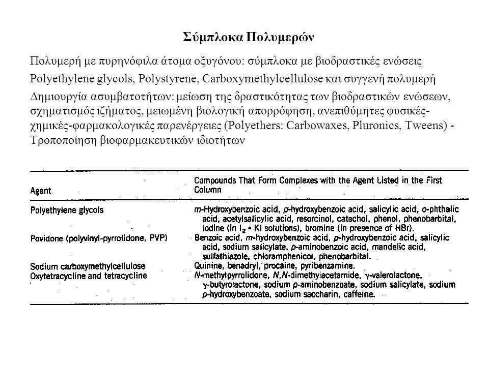 Σύμπλοκα Πολυμερών Πολυμερή με πυρηνόφιλα άτομα οξυγόνου: σύμπλοκα με βιοδραστικές ενώσεις Polyethylene glycols, Polystyrene, Carboxymethylcellulose και συγγενή πολυμερή Δημιουργία ασυμβατοτήτων: μείωση της δραστικότητας των βιοδραστικών ενώσεων, σχηματισμός ιζήματος, μειωμένη βιολογική απορρόφηση, ανεπιθύμητες φυσικές- χημικές-φαρμακολογικές παρενέργειες (Polyethers: Carbowaxes, Pluronics, Tweens) - Τροποποίηση βιοφαρμακευτικών ιδιοτήτων