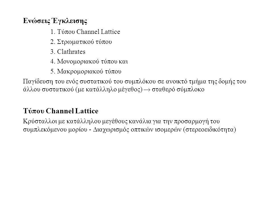 Ενώσεις Έγκλεισης 1. Τύπου Channel Lattice 2. Στρωματικού τύπου 3.