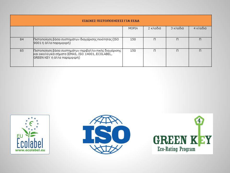 ΕΙΔΙΚΕΣ ΠΙΣΤΟΠΟΙΗΣΕΙΣ ΓΙΑ ΕΕΔΔ ΜΟΡΙΑ2 κλειδιά3 κλειδιά4 κλειδιά 84Πιστοποίηση βάσει συστημάτων διαχείρισης ποιότητας (ISO 9001 ή άλλα παρεμφερή) 150ΠΠ