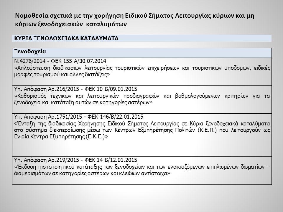 Νομοθεσία σχετικά με την χορήγηση Ειδικού Σήματος Λειτουργίας κύριων και μη κύριων ξενοδοχειακών καταλυμάτων ΚΥΡΙΑ ΞΕΝΟΔΟΧΕΙΑΚΑ ΚΑΤΑΛΥΜΑΤΑ Οργανωμένες τουριστικές κατασκηνώσεις Ν.4276/2014 - ΦΕΚ 155 Α/30.07.2014 «Απλούστευση διαδικασιών λειτουργίας τουριστικών επιχειρήσεων και τουριστικών υποδομών, ειδικές μορφές τουρισμού και άλλες διατάξεις» Απόφαση Αρ.53092/1987 - ΦΕΚ 557 Β/23.10.1987 «Τεχνικές Προδιαγραφές Τουριστικών Εγκαταστάσεων» Υπ.