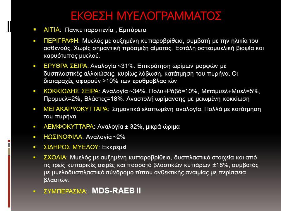 ΕΚΘΕΣΗ ΜΥΕΛΟΓΡΑΜΜΑΤΟΣ  ΑΙΤΙΑ : Πανκυτταροπενία, Εμπύρετο  ΠΕΡΙΓΡΑΦΗ: Μυελός με αυξημένη κυτταροβρίθεια, συμβατή με την ηλικία του ασθενούς.