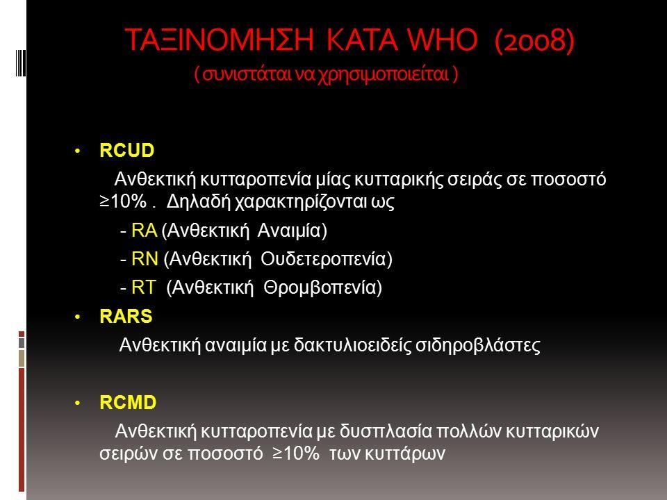 ΤΑΞΙΝΟΜΗΣΗ ΚΑΤΑ WHO (2008) ( συνιστάται να χρησιμοποιείται ) ΤΑΞΙΝΟΜΗΣΗ ΚΑΤΑ WHO (2008) ( συνιστάται να χρησιμοποιείται ) RCUD Ανθεκτική κυτταροπενία μίας κυτταρικής σειράς σε ποσοστό ≥10%.