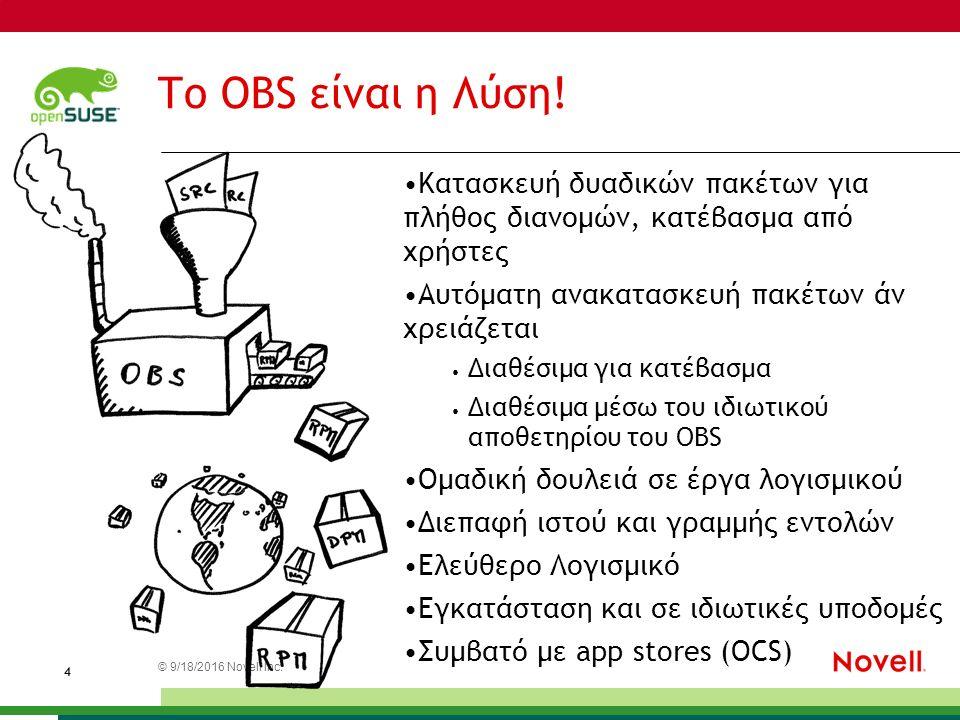 © 9/18/2016 Novell Inc. 4 Το OBS είναι η Λύση.