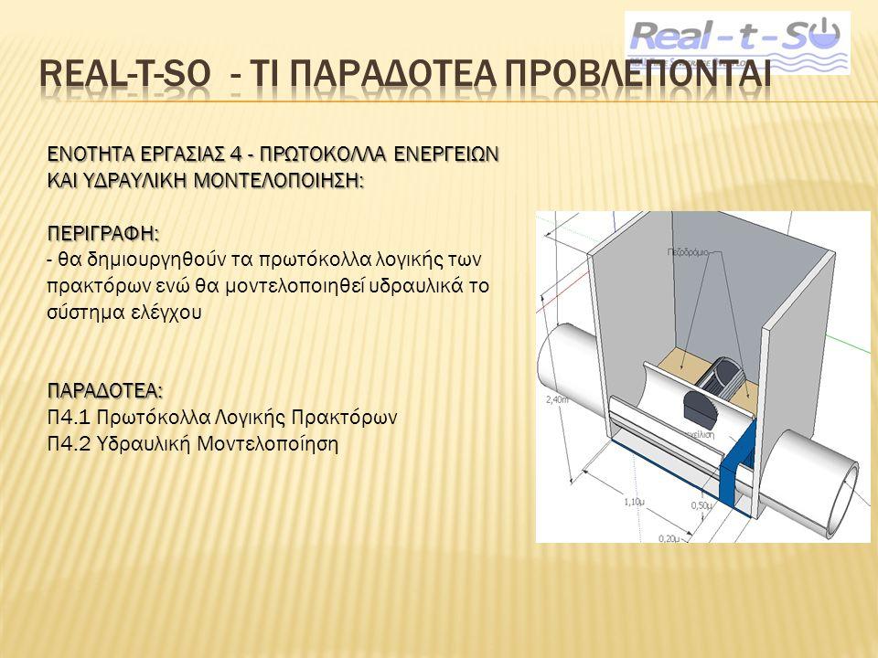 ΕΝΟΤΗΤΑ ΕΡΓΑΣΙΑΣ 4 - ΠΡΩΤΟΚΟΛΛΑ ΕΝΕΡΓΕΙΩΝ ΚΑΙ ΥΔΡΑΥΛΙΚΗ ΜΟΝΤΕΛΟΠΟΙΗΣΗ: ΠΕΡΙΓΡΑΦΗ: - θα δημιουργηθούν τα πρωτόκολλα λογικής των πρακτόρων ενώ θα μοντελοποιηθεί υδραυλικά το σύστημα ελέγχουΠΑΡΑΔΟΤΕΑ: Π4.1 Πρωτόκολλα Λογικής Πρακτόρων Π4.2 Υδραυλική Μοντελοποίηση