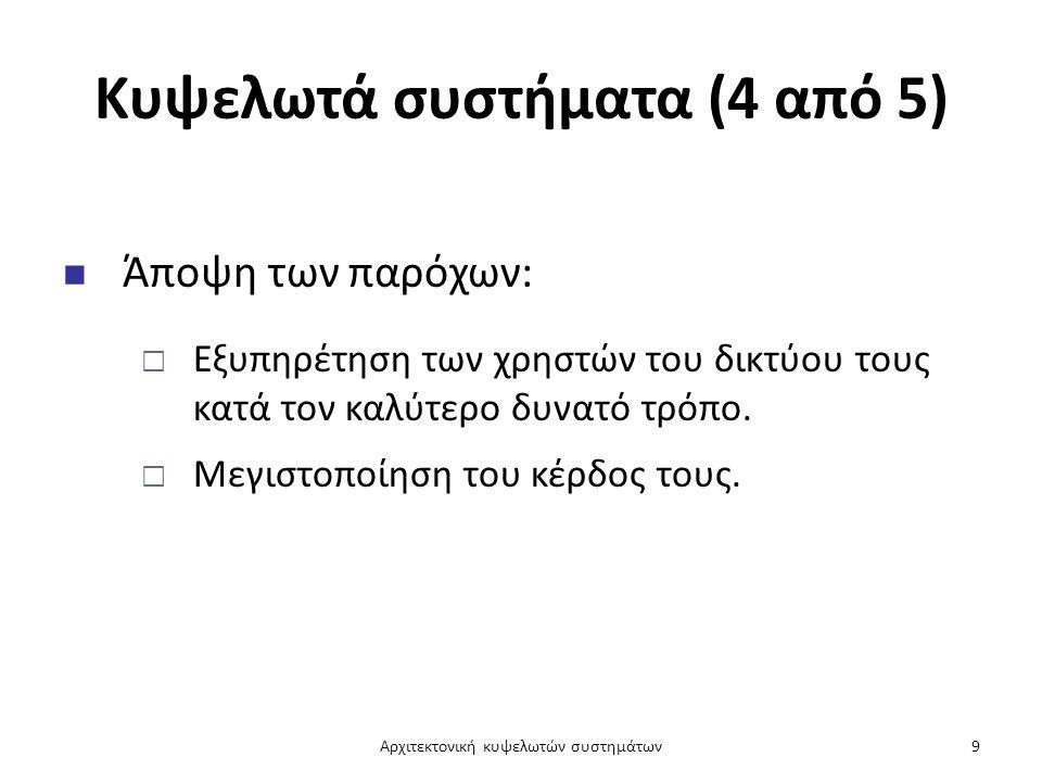 Κυψελωτά συστήματα (5 από 5) Ο αντικειμενικός σκοπός των παρόχων επιτυγχάνεται:  Με αύξηση του χρόνου χρησιμοποίησης της ασύρματης διεπαφής.