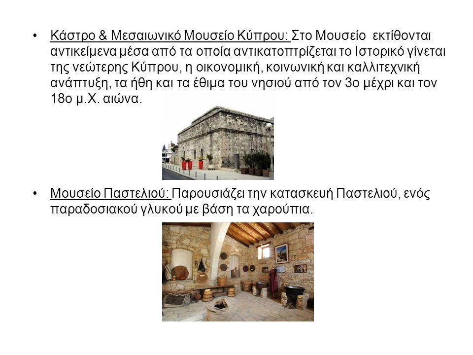 Κάστρο & Μεσαιωνικό Μουσείο Κύπρου: Στο Μουσείο εκτίθονται αντικείμενα μέσα από τα οποία αντικατοπτρίζεται το Ιστορικό γίνεται της νεώτερης Κύπρου, η οικονομική, κοινωνική και καλλιτεχνική ανάπτυξη, τα ήθη και τα έθιμα του νησιού από τον 3o μέχρι και τον 18ο μ.Χ.