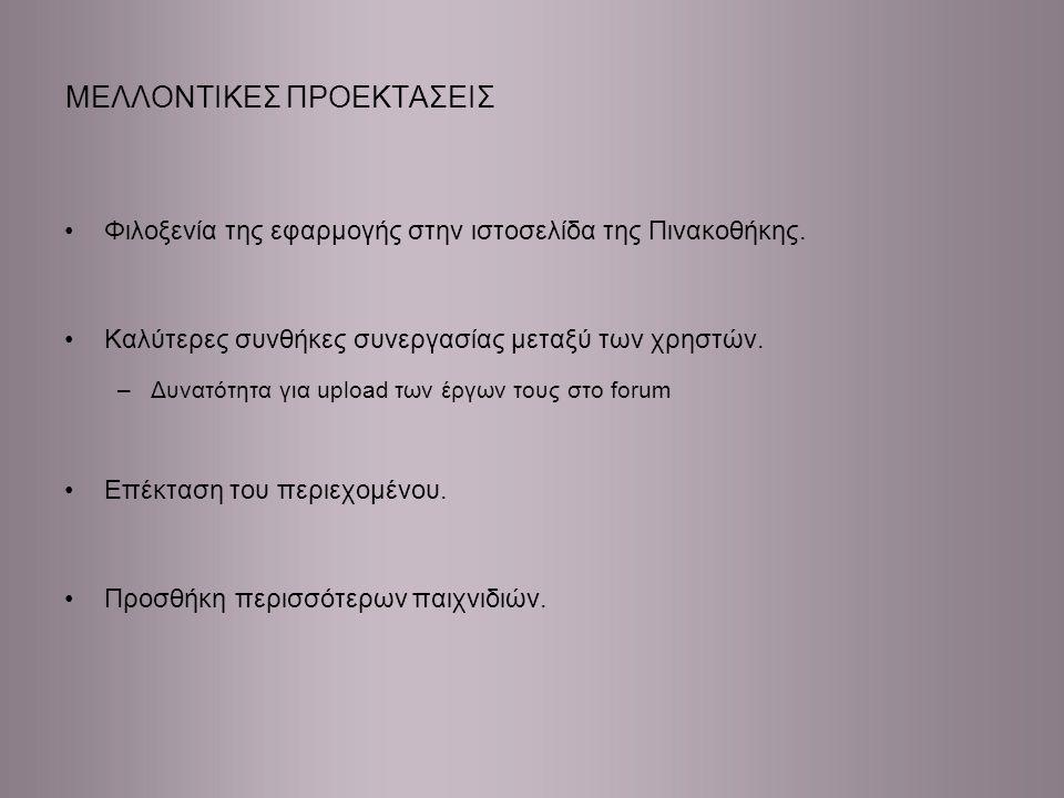 ΜΕΛΛΟΝΤΙΚΕΣ ΠΡΟΕΚΤΑΣΕΙΣ Φιλοξενία της εφαρμογής στην ιστοσελίδα της Πινακοθήκης.
