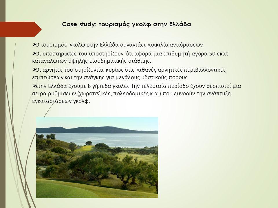 Case study: τουρισμός γκολφ στην Ελλάδα  Ο τουρισμός γκολφ στην Ελλάδα συναντάει ποικιλία αντιδράσεων  Οι υποστηρικτές του υποστηρίζουν ότι αφορά μια επιθυμητή αγορά 50 εκατ.