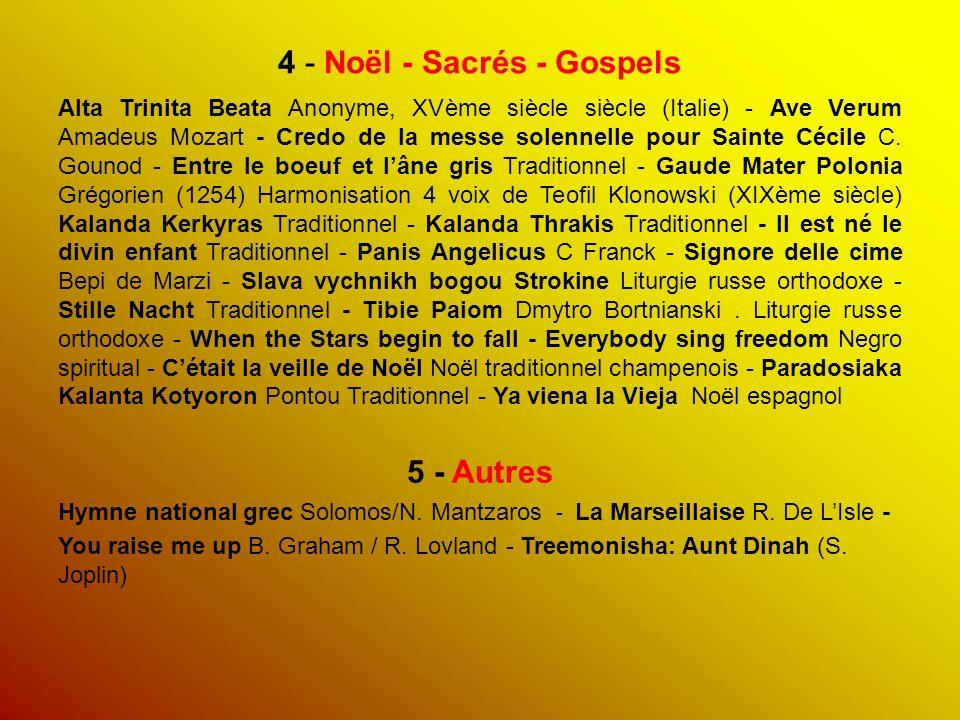 4 - Noël - Sacrés - Gospels Alta Trinita Beata Anonyme, XVème siècle siècle (Italie) - Ave Verum Amadeus Mozart - Credo de la messe solennelle pour Sainte Cécile C.