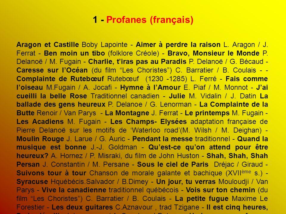 1 - Profanes (français) Aragon et Castille Boby Lapointe - Aimer à perdre la raison L.