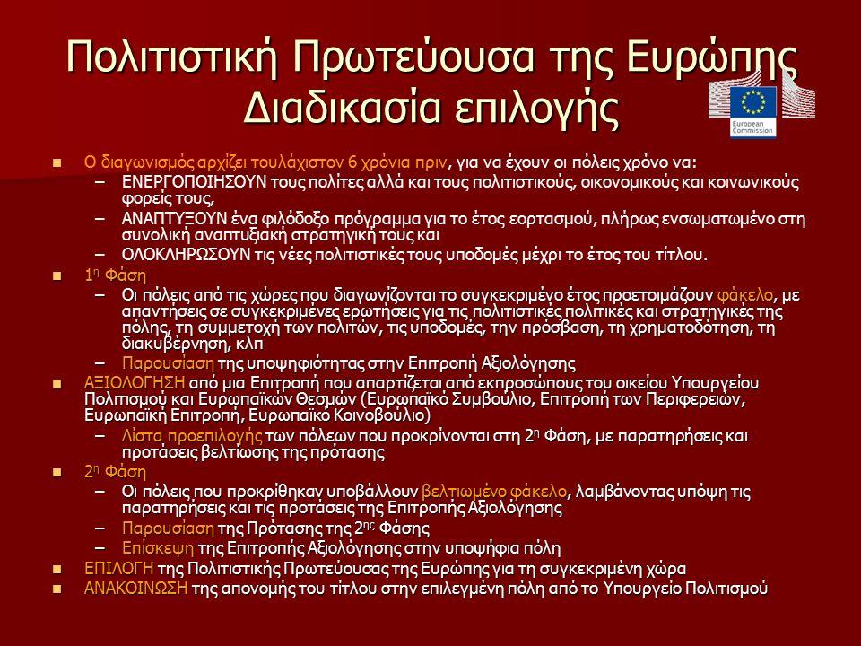 Πολιτιστική Πρωτεύουσα της Ευρώπης Διαδικασία επιλογής Ο διαγωνισμός αρχίζει τουλάχιστον 6 χρόνια πριν, για να έχουν οι πόλεις χρόνο να: – –ΕΝΕΡΓΟΠΟΙΗΣΟΥΝ τους πολίτες αλλά και τους πολιτιστικούς, οικονομικούς και κοινωνικούς φορείς τους, – –ΑΝΑΠΤΥΞΟΥΝ ένα φιλόδοξο πρόγραμμα για το έτος εορτασμού, πλήρως ενσωματωμένο στη συνολική αναπτυξιακή στρατηγική τους και – –ΟΛΟΚΛΗΡΩΣΟΥΝ τις νέες πολιτιστικές τους υποδομές μέχρι το έτος του τίτλου.