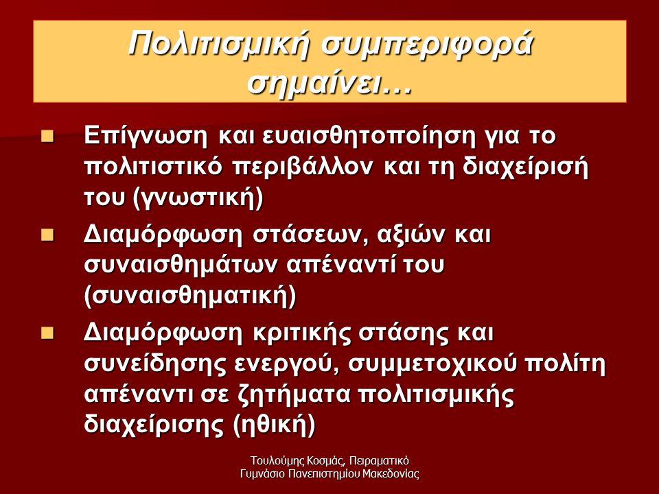 Τουλούμης Κοσμάς, Πειραματικό Γυμνάσιο Πανεπιστημίου Μακεδονίας Πολιτισμική συμπεριφορά σημαίνει… Επίγνωση και ευαισθητοποίηση για το πολιτιστικό περιβάλλον και τη διαχείρισή του (γνωστική) Επίγνωση και ευαισθητοποίηση για το πολιτιστικό περιβάλλον και τη διαχείρισή του (γνωστική) Διαμόρφωση στάσεων, αξιών και συναισθημάτων απέναντί του (συναισθηματική) Διαμόρφωση στάσεων, αξιών και συναισθημάτων απέναντί του (συναισθηματική) Διαμόρφωση κριτικής στάσης και συνείδησης ενεργού, συμμετοχικού πολίτη απέναντι σε ζητήματα πολιτισμικής διαχείρισης (ηθική) Διαμόρφωση κριτικής στάσης και συνείδησης ενεργού, συμμετοχικού πολίτη απέναντι σε ζητήματα πολιτισμικής διαχείρισης (ηθική)
