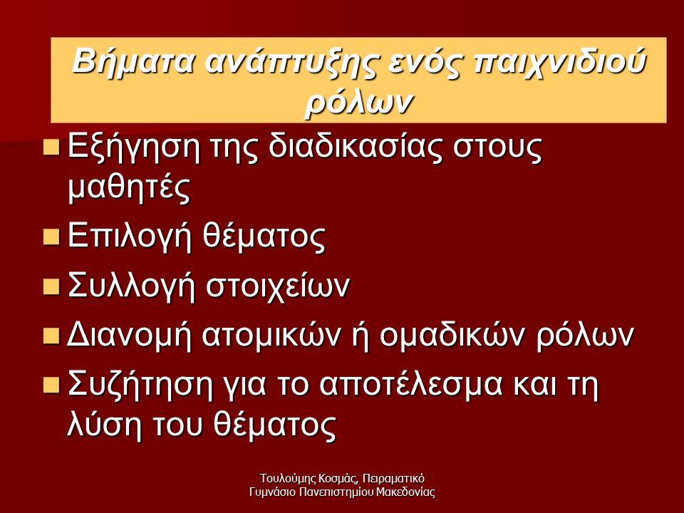 Τουλούμης Κοσμάς, Πειραματικό Γυμνάσιο Πανεπιστημίου Μακεδονίας Βήματα Εξήγηση της διαδικασίας στους μαθητές Εξήγηση της διαδικασίας στους μαθητές Επιλογή θέματος Επιλογή θέματος Συλλογή στοιχείων Συλλογή στοιχείων Διανομή ατομικών ή ομαδικών ρόλων Διανομή ατομικών ή ομαδικών ρόλων Συζήτηση για το αποτέλεσμα και τη λύση του θέματος Συζήτηση για το αποτέλεσμα και τη λύση του θέματος Βήματα ανάπτυξης ενός παιχνιδιού ρόλων