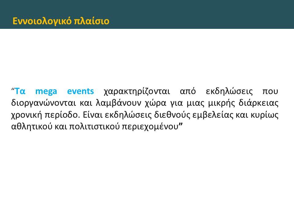 """Εννοιολογικό πλαίσιο """" Tα mega events χαρακτηρίζονται από εκδηλώσεις που διοργανώνονται και λαμβάνουν χώρα για μιας μικρής διάρκειας χρονική περίοδο."""