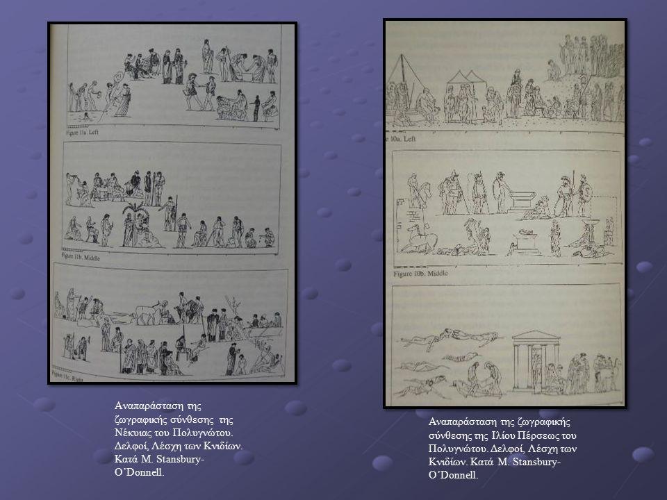 Aναπαράσταση της ζωγραφικής σύνθεσης της Νέκυιας του Πολυγνώτου. Δελφοί, Λέσχη των Κνιδίων. Κατά M. Stansbury- O'Donnell. Αναπαράσταση της ζωγραφικής