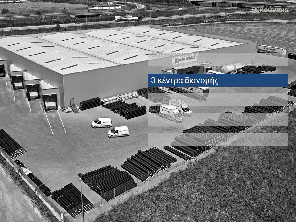 80.000km σωλήνων τα τελευταία 5 χρ. 3 κέντρα διανομής 17 ιδιόκτητα φορτηγά 15 γραμμές παραγωγής (fully automated) 500 εξουσιοδοτημένα σημεία πώλησης