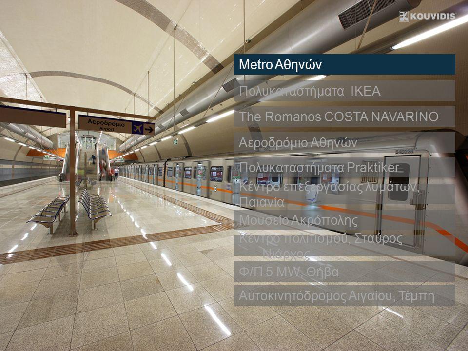 Πολυκαταστήματα IKEA The Romanos COSTA NAVARINO Αεροδρόμιο Αθηνών Metro Αθηνών Κέντρο επεξεργασίας λυμάτων, Παιανία Μουσείο Ακρόπολης Κέντρο πολιτισμο
