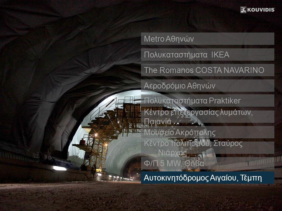 Πολυκαταστήματα IKEA The Romanos COSTA NAVARINO Αεροδρόμιο Αθηνών Κέντρο επεξεργασίας λυμάτων, Παιανία Μουσείο Ακρόπολης Κέντρο πολιτισμού, Σταύρος Νι