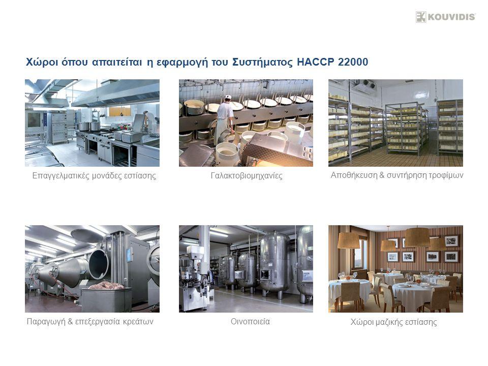 Χώροι όπου απαιτείται η εφαρμογή του Συστήματος HACCP 22000 Επαγγελματικές μονάδες εστίασηςΓαλακτοβιομηχανίες Αποθήκευση & συντήρηση τροφίμων Παραγωγή & επεξεργασία κρεάτωνΟινοποιεία Χώροι μαζικής εστίασης